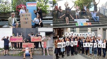 Vier Bilder der Fotoaktion als Collage. Auf jedem der Bilder halten Menschen den Slogan Engagement macht stark auf Schildern in die Höhe.