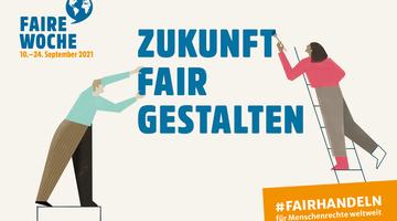 """Sharepic der Fairen Woche mit dem Jahresthema """"Zukunft fair gestalten"""""""