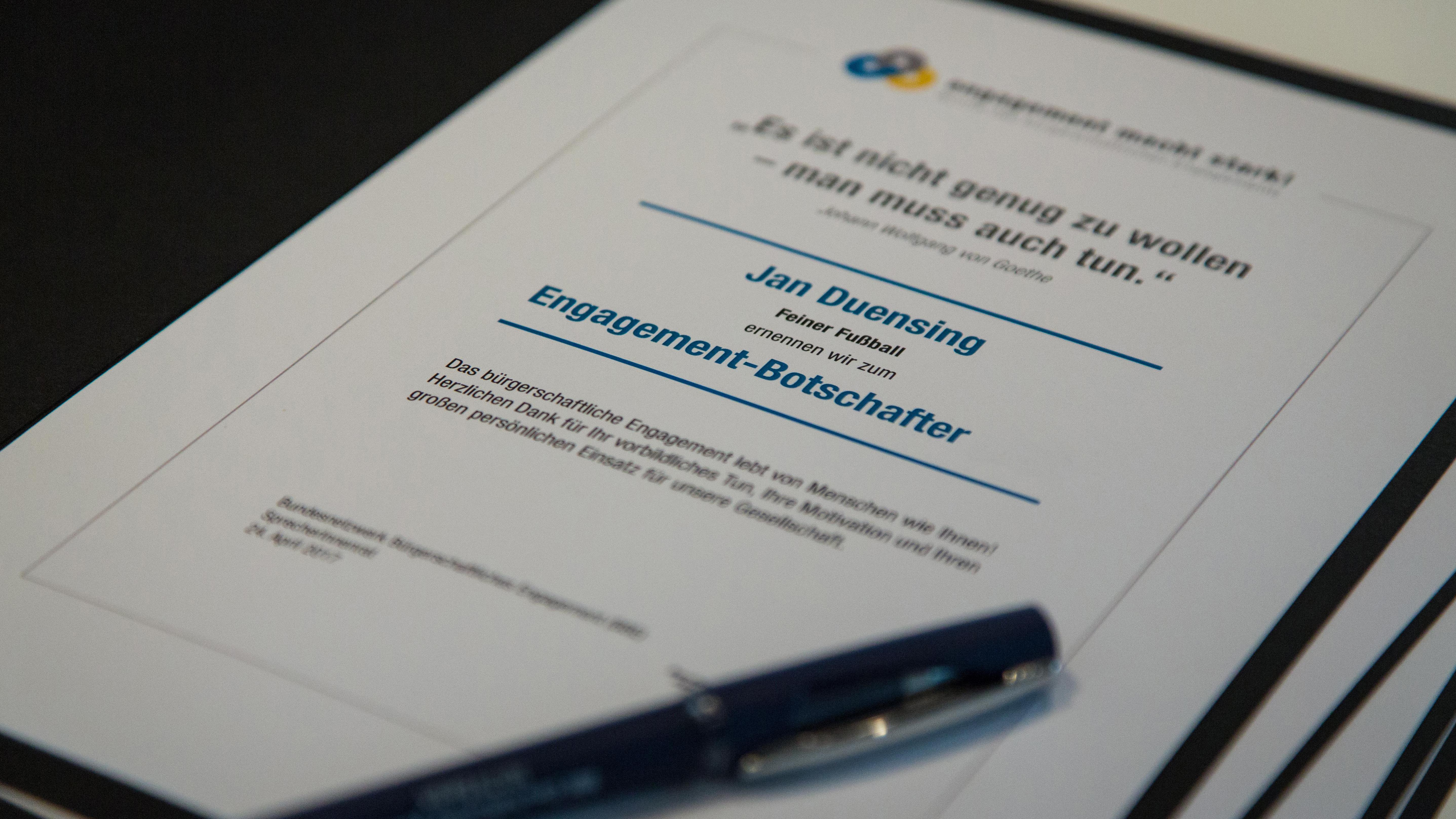 Urkunde Engagement-Botschafter*innen