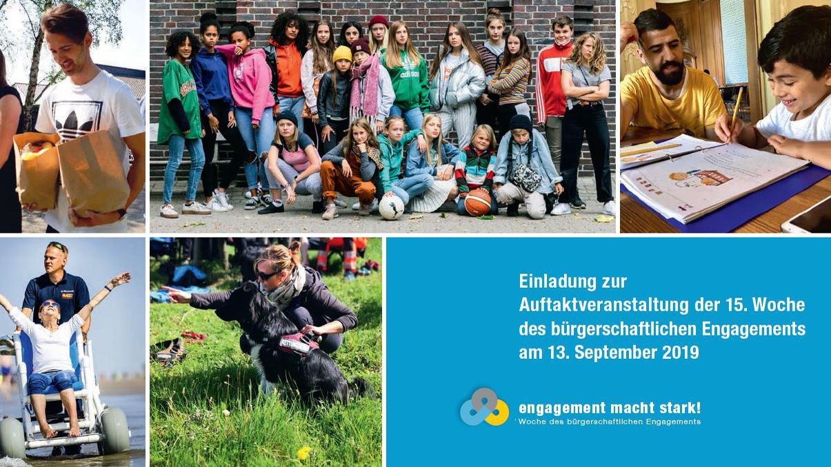 Einladungskarte Auftaktveranstaltung der 15. Woche des bürgerschafltichen Engagements